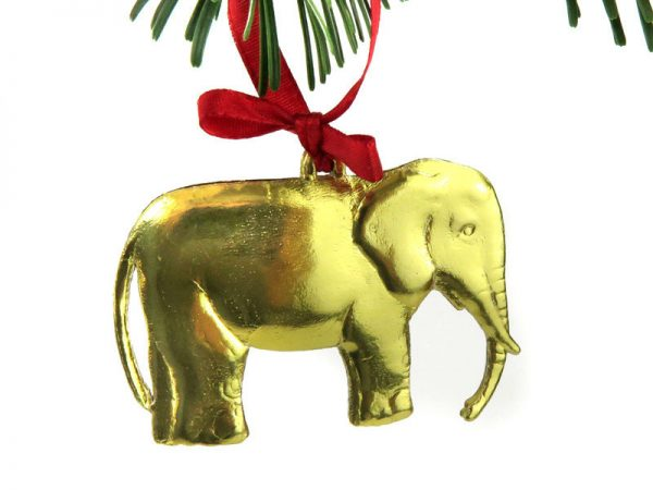 Dresdner Pappe goldener Elefant glänzend