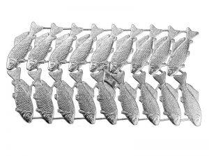 Dresdner Pappe Fische geprägtes Silberpapier