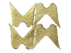 handgearbeitete Dresdner Pappe Flügel mittelgroß gold geprägt