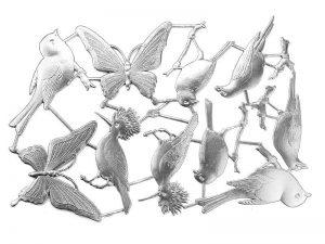 Dresdner Pappe Vögel und Schmetterlinge dreidimensional und geprägt