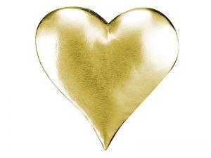 Herz aus Pappe in gold