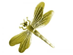 Tiere aus Pappe Libelle gold