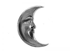 Mond aus silber in Pappe