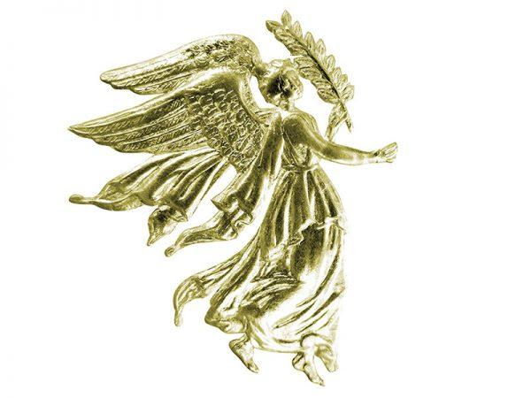 weihnachtliche Dekoration Engel aus Pappe gold