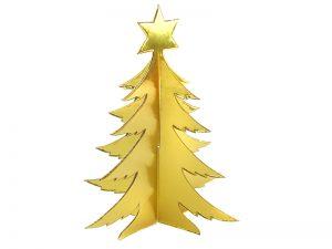 3D Weihnachtsbaum aus Pappe gold