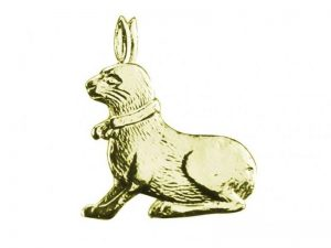 Hase aus Pappe gold