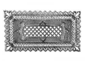 Dresdner Pappen Spitzendecken in Silber