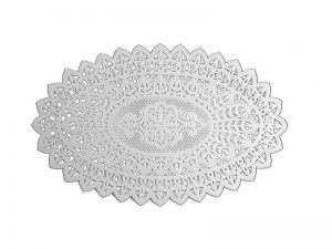 Weißes Spitzendeckechen aus Papier oval