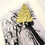 Weihnachtskarte mit Verzierung aus Papier