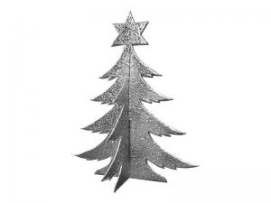 3D Weihnachtsbaum Pappe silber
