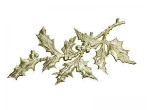 Dekoideen Weihnachten Stechpalme gold