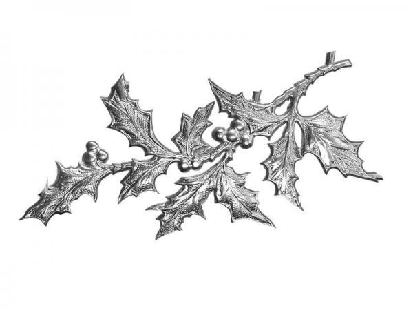 Dekoideen Weihnachten Stechpalme silber