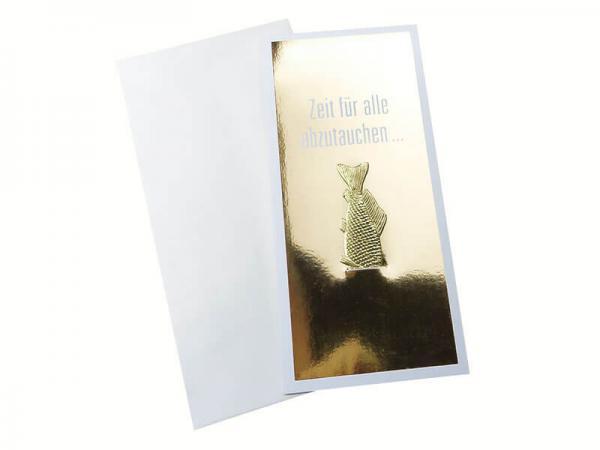 Weihnachtskarte Fisch gold