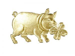 Glücksschwein mit Kleeblatt Detail gold