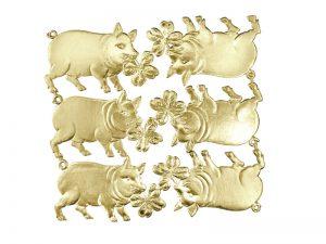 Glücksschwein mit Kleeblatt gold