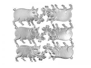 Glücksschwein mit Kleeblatt silber