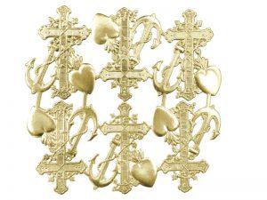 Kreuz, Herz und Anker gold