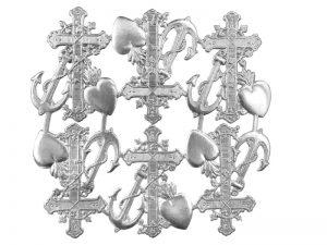 Kreuz, Herz und Anker silber