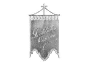 Dresdner Pappen Osterfahnen groß silber Detail