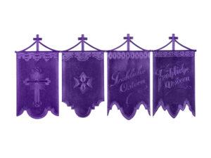 Dresdner Pappen Osterfahnen groß purpur Bogen
