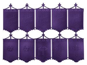 Dresdner Pappen Osterfahnen mittel Bogen purpur