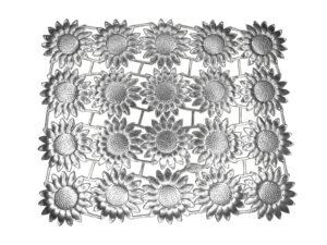 Dresdner Pappen Margeritenblüte Bogen silber