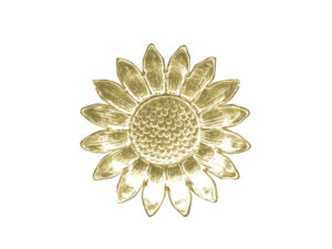 Dresdner Pappen Margeritenblüte groß Detail gold