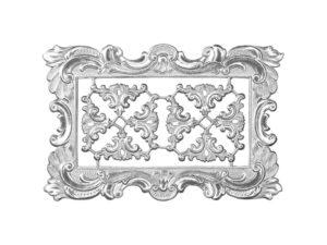 Dresdner Pappen Rahmen mit Zierecke groß Detail silber