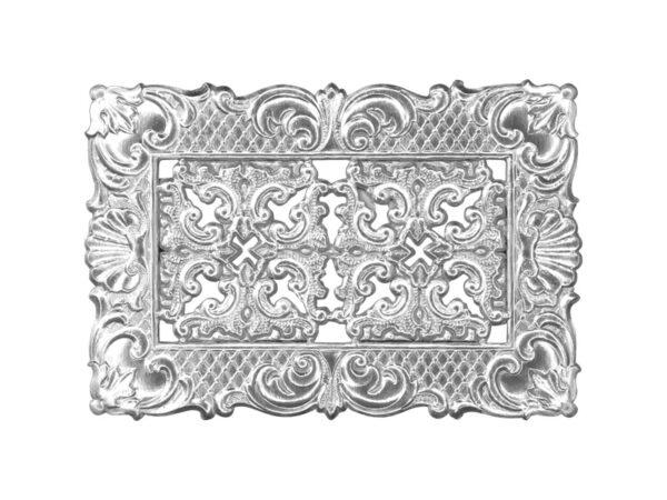 Dresdner Pappen Rahmen mit Zierecke klein Detail silber