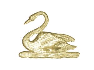 Dresdner Pappen Tiermotive Schwan Detail Gold