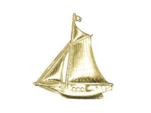 Dresdner Pappen Segelschiff Detail gold
