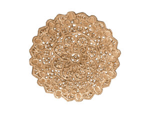 Spitzendeckchen Rosette klein mittig rund Detail altgold