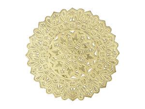 Dresdner Pappen Spitzendeckchen Rosette mittel mittig rund Detail gold