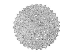 Dresdner Pappen Spitzendeckchen Rosette mittel mittig rund Detail silber