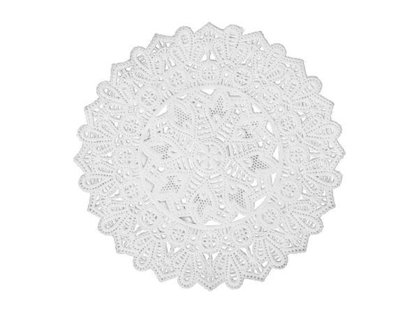 Dresdner Pappen Spitzendeckchen Rosette mittel mittig rund Detail weiß