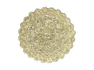 Spitzendeckchen Rosette klein mittig rund Detail gold