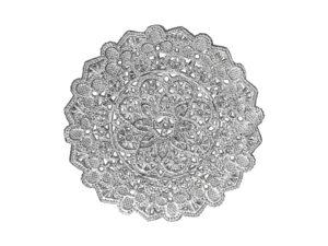 Spitzendeckchen Rosette klein mittig rund Detail silber