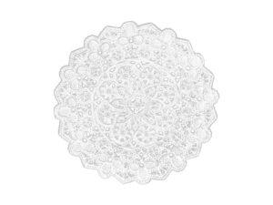 Spitzendeckchen Rosette klein mittig rund Detail weiß