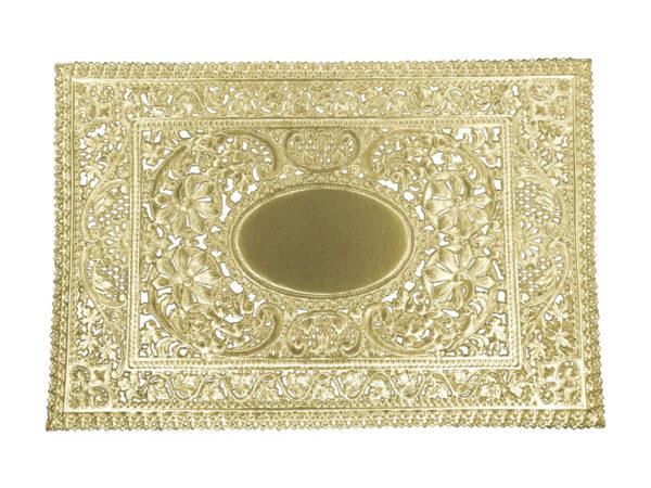 Dresdner Pappen Spitzendeckchen reich verziert rechteckig groß Detail gold