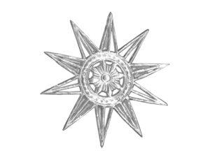 Dresdner Pappen Stern filigran silber Detail