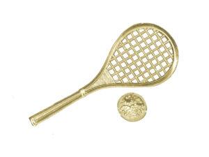 Dresdner Pappen Tennisschläger mit Ball Detail gold