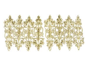 Ziereclement mit Blüte Dresdner Pappen Bogen gold