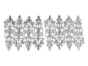 Ziereclement mit Blüte Dresdner Pappen Bogen silber