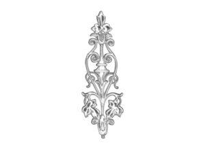 Ziereclement mit Blüte Dresdner Pappen Detail silber