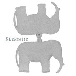 Dresdner Pappe Weihnachtsschmuck Elefant matt (Rückseite)