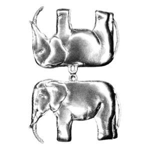 Dresdner Pappen Weihnachtsschmuck Elefant glänzend