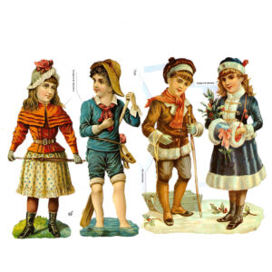 Dresdner Pappen Glanzbilder Zwei nostalgische Kinderpaare